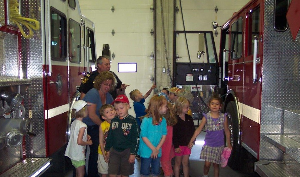 Kids Inspecting the Fire Hall