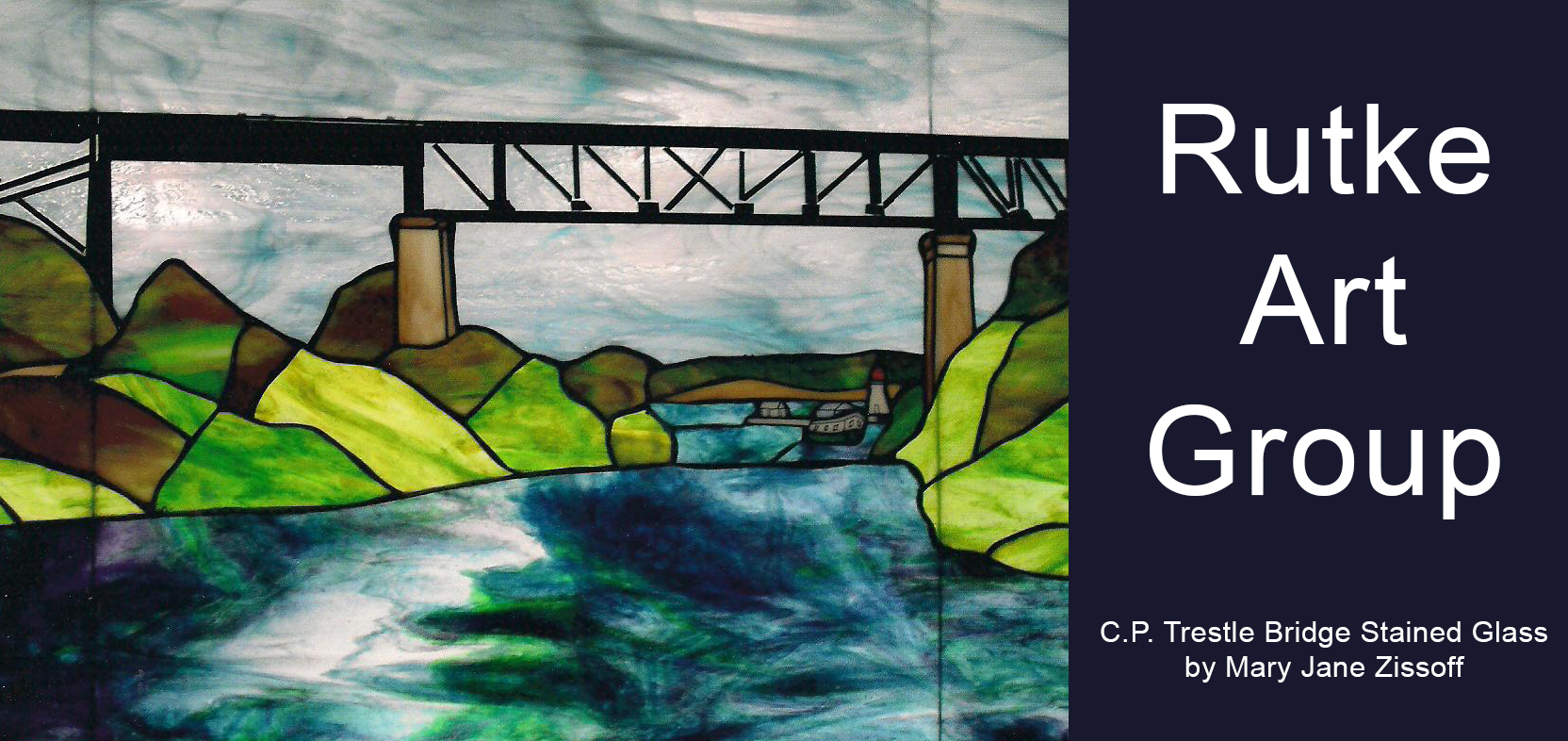 Rutke Art Group stained glass Trestle Bridge by Mary Jane Zissoff