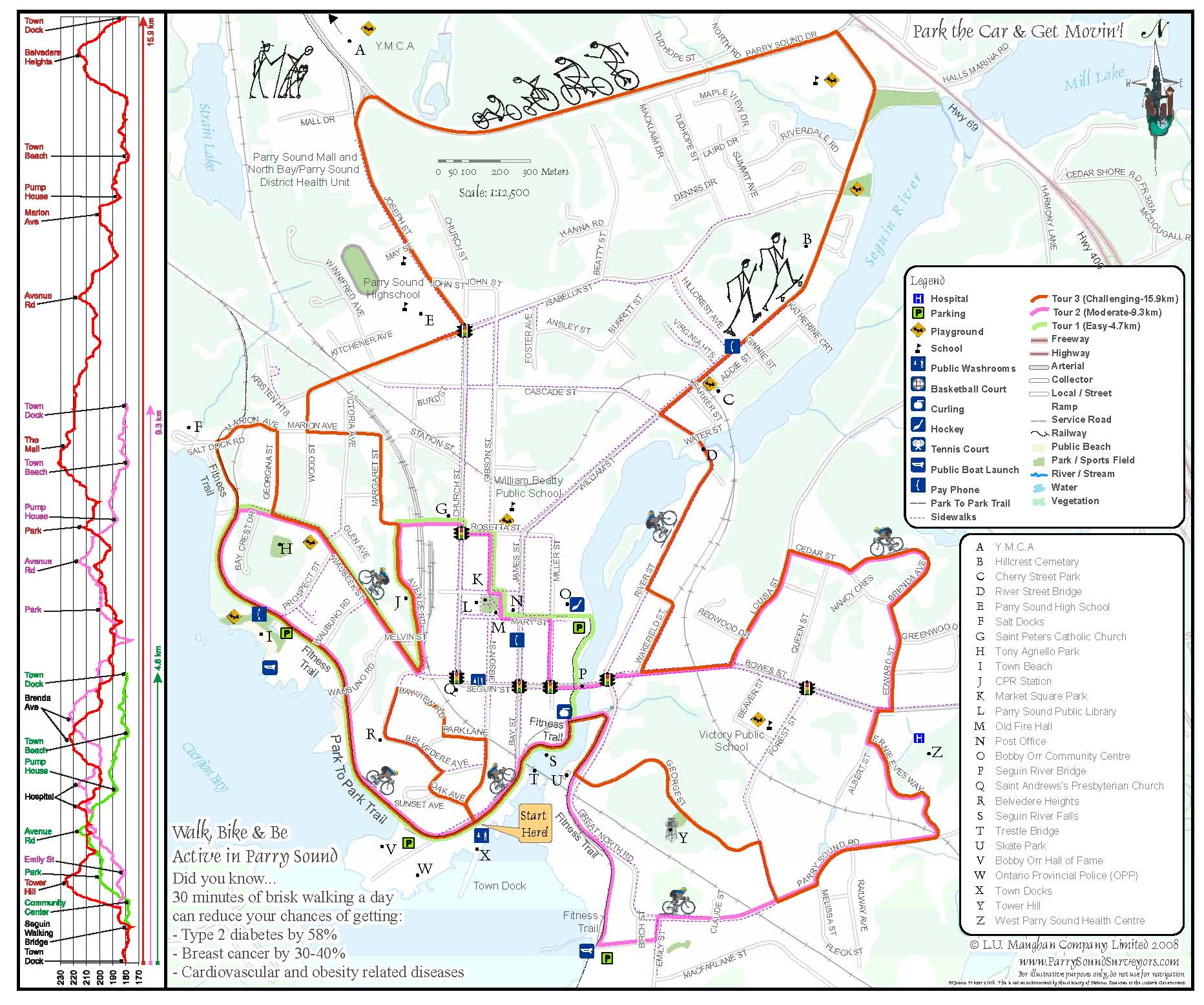 A map of biking and walking routes in Parry Sound